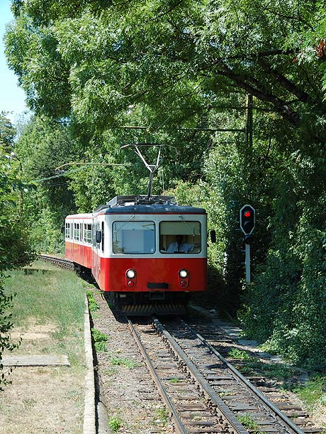 Rack railway coming to the end station in Budapest